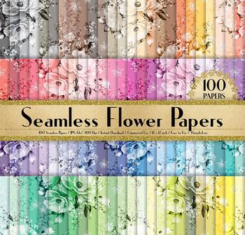 100 Seamless Wedding Valentine Rose Flower Digital Papers