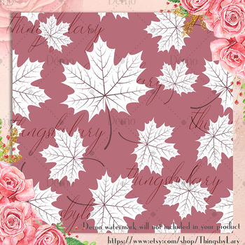 100 Seamless White Autumn Leaves Pattern Digital Papers