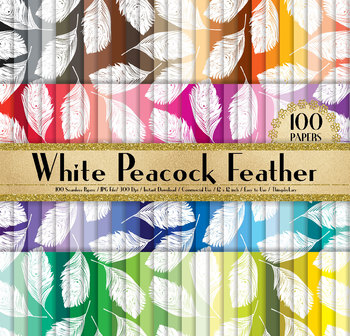 100 Seamless White Peacock Feather Digital Papers 12 x 12 in