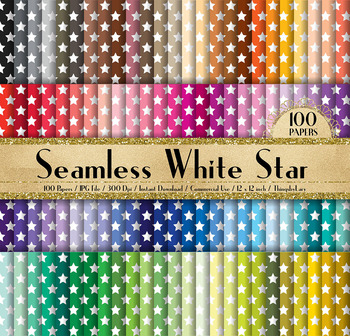 100 Seamless White Star Pattern Digital Papers