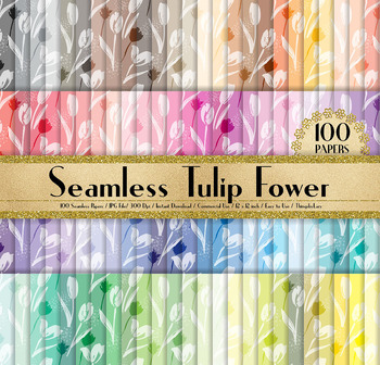 100 Seamless White Tulip Flower Digital Papers 12 x 12 inch