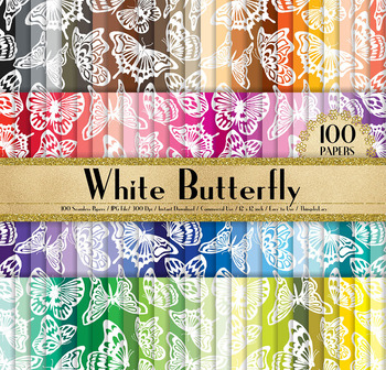 100 Seamless White Watercolor Butterfly Digital Papers