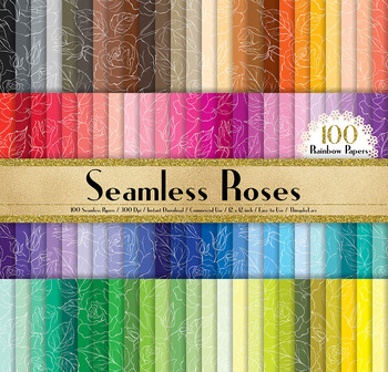 100 Seamless White Wedding Roses Pattern Digital Papers