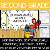 100 Second Grade No Prep Language, Reading, Writing, & Math Anytime Printables