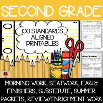 100 Second Grade No Prep Language, Reading, Writing, & Mat