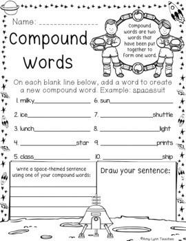 100 Second Grade Space Theme No Prep Language, Reading, Writing, & Math Work