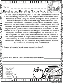 100 Second Grade Space Theme No Prep Language, Reading, Writing, & Math Work
