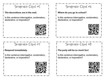 100 Sentence Type QR Task Cards
