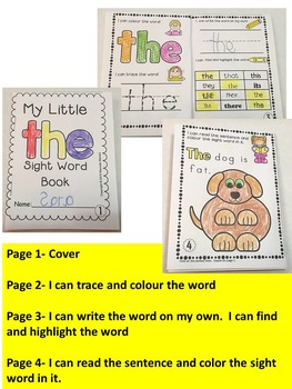 100 SIGHT WORD BOOKS-Fry's first 100 word sight word printable books