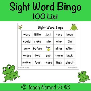100 Sight Word Bingo
