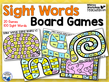 100 Sight Words -20 Game Boards Bundle - Whimsy Workshop Teaching