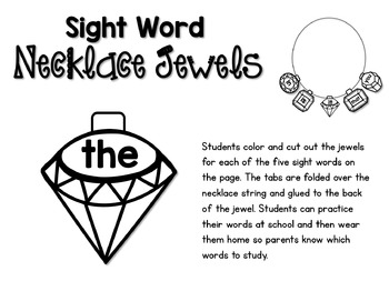 100 Sight Words 3 Interactive Jewelry Sets - Whimsy Workshop Teaching