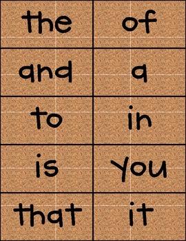100 Sight Words Corkboard Background CK Handprint Font FREE!