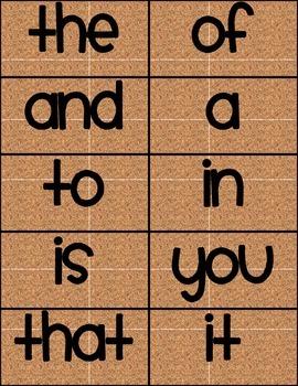 100 Sight Words Corkboard Background Smiley Monster Font FREE!