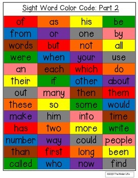 100+ Sight Words: Identify and Color PLUS 14 Challenge Pages