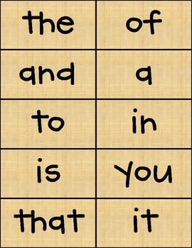 100 Sight Words Papyrus Background CK Handprint Font FREE!