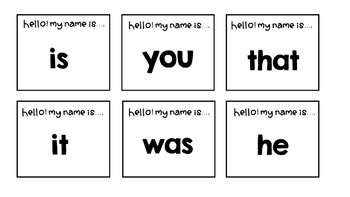 100 Sight Words Review (Hello! my name is activity)