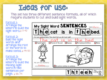 100 Sight Words Sentence Building - Whimsy Workshop Teaching