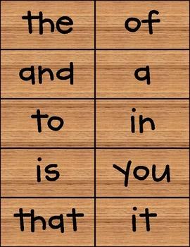 100 Sight Words Wooden Background CK Handprint Font FREE!