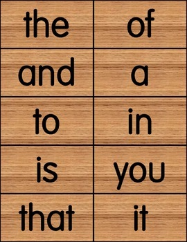 100 Sight Words Wooden Background Elementary SF Font FREE!
