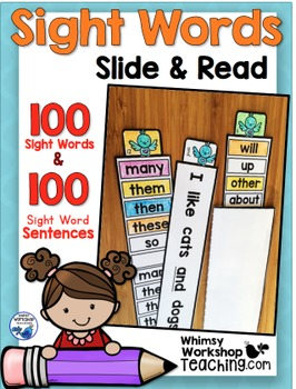 100 Sight Words and 100 Sentences Slide and Read - Whimsy Workshop Teaching