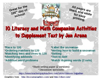 100 Snowmen 10 Math and Literacy Activities (100th Day of School) Text by Arena
