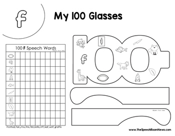 100 Sound Glasses: Articulation Craftivity for 100th Day or 100 Trials Practice