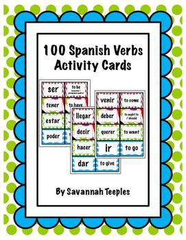 100 Spanish Verbs Activity Cards