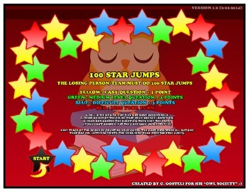 100 Star jumps - board and card game (household objects)