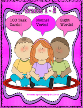 Sight Words! 100 Task Cards! Nouns! Verbs Centers