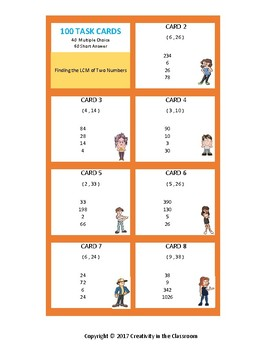 100 Task Cards - Finding the LCM of Two Numbers