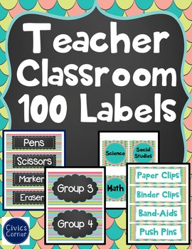 Back to School 100 Teacher Classroom Supply Labels