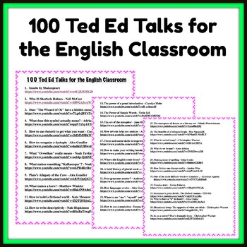 100 Ted Ed Talks for the English Classroom