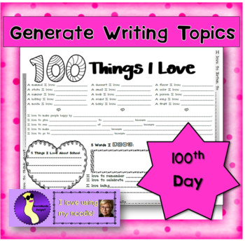 100 Things I Love 100th Day of School Activity