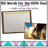 100 Words for the 100th Day Freebie!