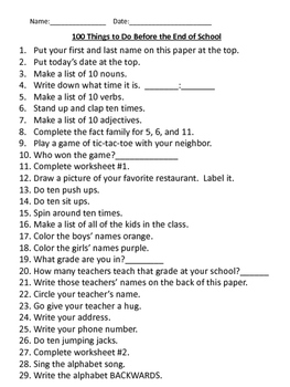 100 Things to do Before the End of the Year