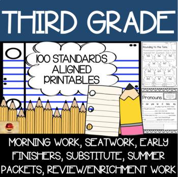 100 Third Grade No Prep Language, Reading, Writing, & Math Anytime Printables