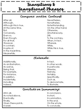 100+ Transitions and Transitional Phrases