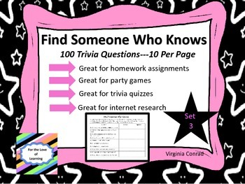 Trivia Questions--Set 3--Find Someone Who Knows