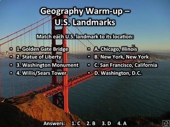 100 US Geography Warmups