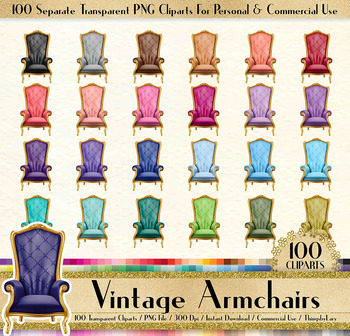 100 Vintage Armchair Clip Arts Antique Retro Royal Parisian
