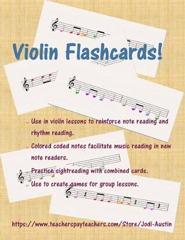 60 Violin Flashcards - FULL COLOR!!!
