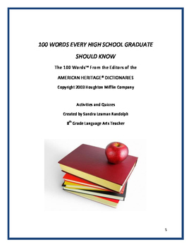 100 WORDS EVERY HIGH SCHOOL GRADUATE SHOULD KNOW - 10 Week Vocabulary Unit