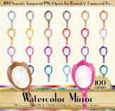 100 Watercolor Antique Princess Handy Mirror Clip Arts