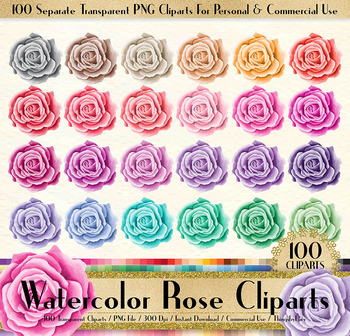 100 Watercolor Roses Clip Arts Romantic Valentine Scrapbook