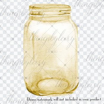 100 Watercolor Wedding Mason Jar Clip Arts