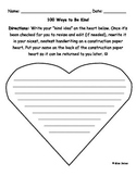100 Ways to Be Kind Valentine's Day/100th Day of School