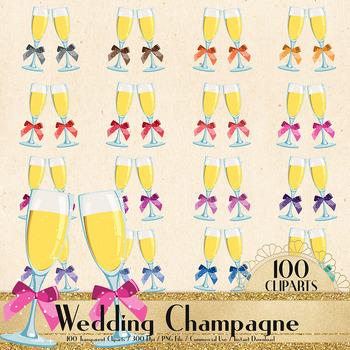 100 Wedding Champagne Glass Clip Arts, Champagne Flutes
