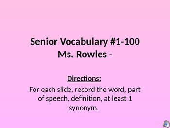 100 Word PowerPoint of Senior Vocab with Pictures