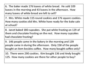 Word Problems 3 Digit Addition And Subtraction By